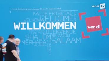 """Bühnenbild """"Willkommen"""" anl. des 4. Ordentlichen ver.di-Bundeskongresses 2015 in Leipzig"""