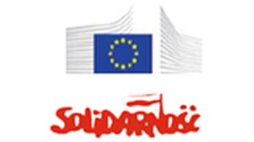 Logos der Europäischen Kommission und der Gewerkschaft NSZZ Solidarnosc
