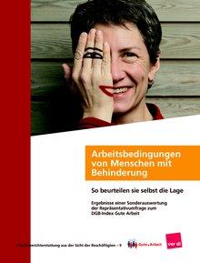 """Titelseite der Broschüre zur Sonderauswertung des DGB-Index Gute Arbeit """"Arbeitsbedingungen von Menschen mit Behinderung - So sehen die Beschäftigten die Lage"""""""