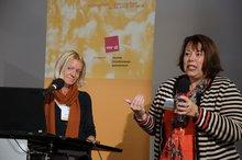 """Angelika Ebeling und Angela Oester anl. der ver.di-Fachkonferenz """"Teilhabe junger Menschen mit Behinderung an der beruflichen Ausbildung – Wie kann Inklusion gelingen?"""" am 4.11.2015"""