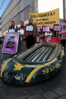 Demonstration/Aktion der ver.di-Erwerbslosen in der Bielefelder Innenstadt