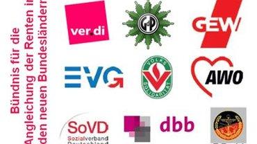 Logos des Bündnisses für die Angleichung der Renten in den neuen Bundesländern