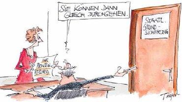 Karikatur von Thomas Plaßmann zur Altersarmut