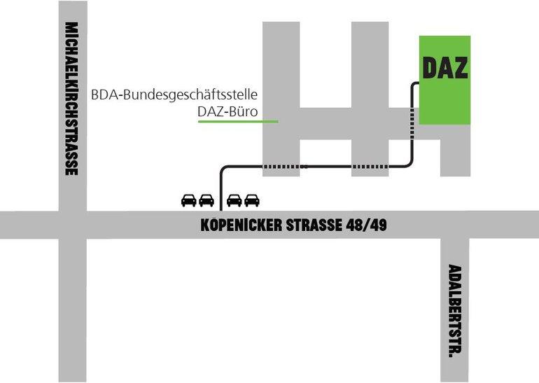Umgebungsplan zur Anreise zum Deutschen Architektur Zentrum (DAZ) in Berlin