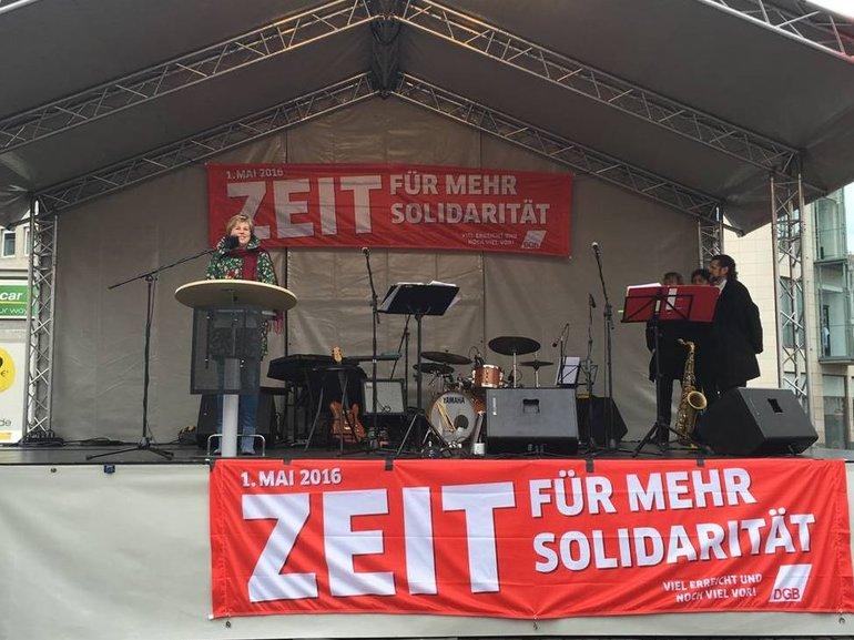 Eva Welskop-Deffaa (ver.di-Bundesvorstand) anl. 1.-Mai-Demo 2016 in Bonn