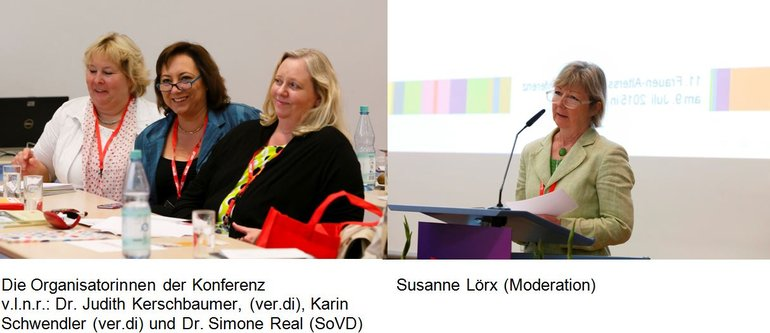 Die Organisatorinnen der Konferenz. Dr. Judith Kerschbaumer (ver.di), Karin Schwendler (ver.di) und Dr. Simone Real (SoVD) sowie Susanne Lörx (Moderation) anl. der 11. Frauen-Alterssicherungskonferenz am 9.7.2015