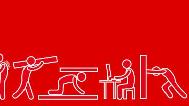 Piktogramme von Menschen zeigen verschiedene Tätigkeiten am Arbeitsplatz