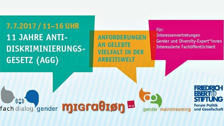 Gender Fachdialog: 11 Jahre Antidiskriminierungsgesetz (AGG) am 7.7.2017