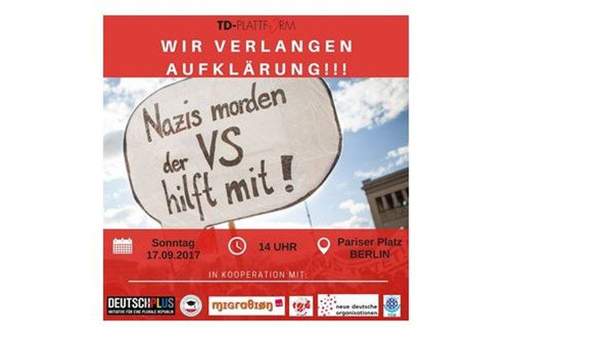 Flyer für Demo am 17.09.2017 zur Forderung nach Aufklärung im NSU-Fall