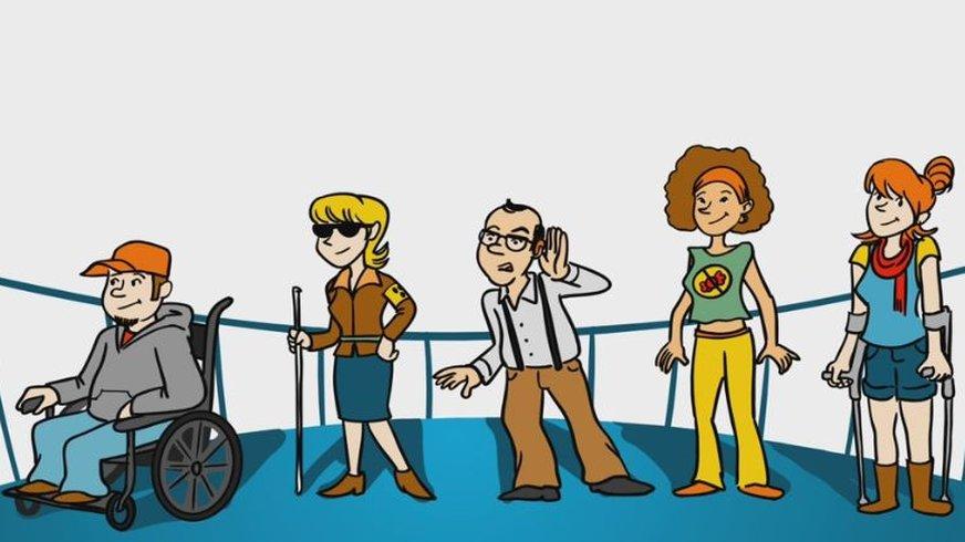 Zeichnung verschiedener Menschen, u. a. mit Behinderungen (z.B. Rollstuhlfahrer und blinde Frau)