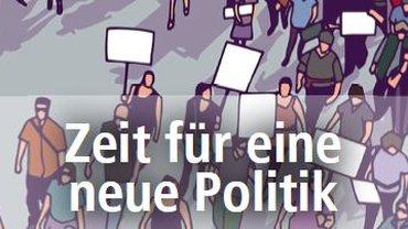 """Ausschnitt aus einem Flyer mit gezeichneten Menschen, die an einer Demonstration teilnehmen und zum Teil Schilder ohne Beschriftung hochhalten, überlagert von dem Text """"Zeit für eine neue Politik, Ohne Armut in Europa"""""""