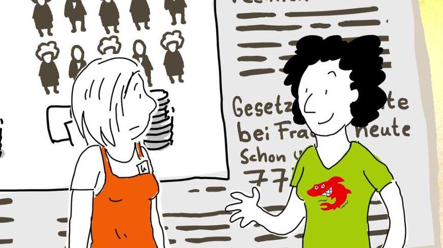 """gezeichnete Frau vor einer großen Zeitung mit der Überschrift """"Gesetzliche Rente bei Frauen heute schon unter 773 Euro"""""""