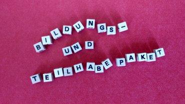 """Karton mit Schriftzug """"Bildung"""""""