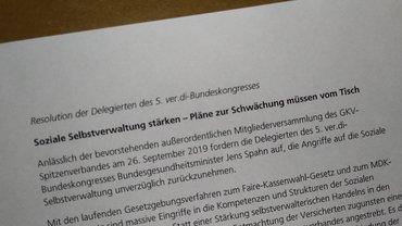 Resolution des 5. ver.di-Bundeskongresses zur Stärkung der Sozialen Selbstverwaltung