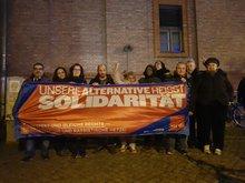 Seminarteilnehmer*innen anlässlich einer Kundgebung in Potsdam zum Tag gegen Gewalt an Frauen