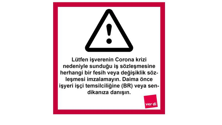 """Schild mit Text in türkischer Sprache: """"ACHTUNG, nichts unterschreiben"""" als Warnung, während der Corona-Krise nichts zu unterschreiben, was man nicht versteht"""