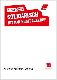 Schild zur Kampagne #LeaveNoOneBehind