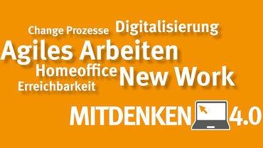 """Kampagnenmotiv der Verwaltungsberufsgenossenschaft (VBG) zur Initiative """"Mitdenken 4.0 – Neue Präventionsansätze für Arbeitsprozesse in der Büro- und Wissensarbeit"""" ins Leben gerufen."""