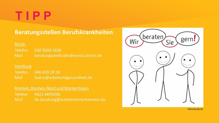 Hinweis auf Beratungsstellen Berufskrankheiten in Berlin, Hamburg und Bremen/Bremen-Nord/Bremerhaven