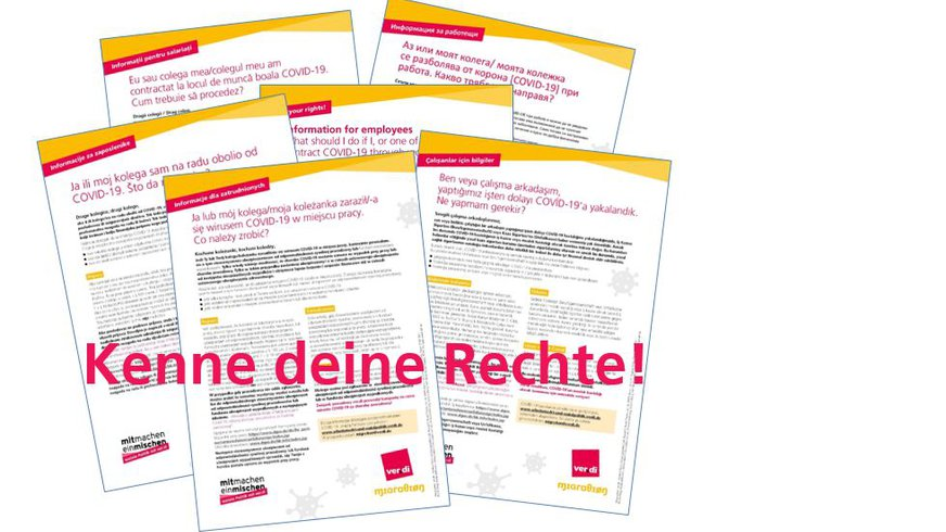 Corona - Kenne deine Rechte! Flyer in verschiedenen Sprachen