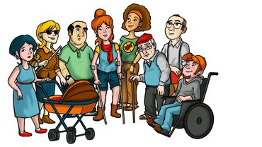 Zeichnung von verschiedenen Menschen, z.B. mit Blindenstock, mit Rollstuhl, mit Krückstock etc.