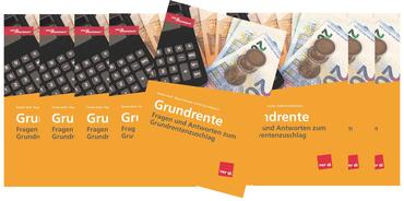 """mehrere Titelseiten des ver.di-Ratgebers """"Grundrente - Fragen und Antworten zum Grundrentenzuschlag"""""""
