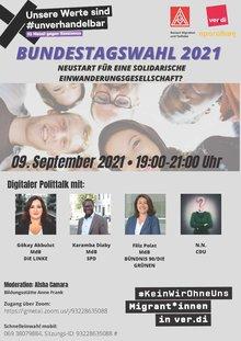 """Einladung zum digitalen Politiktalk am 09.09.2021 """"Bundestagswahl 2021 – Neustart für die solidarische Einwanderungsgesellschaft?"""""""