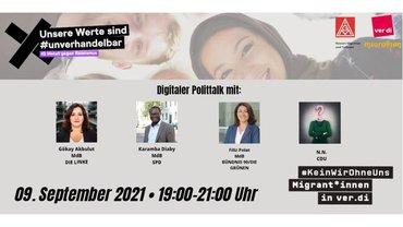 """Banner zum Online-Politiktalk am 09.09.2021 """"Bundestagswahl 2021 - Neustart für eine solidarische Einwanderungsgesellschaft?"""""""
