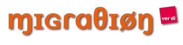Schriftzug  Migration kyrillisch und ver.di-Logo